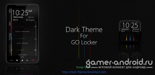 Dark GO Locker Theme - экран блокировки