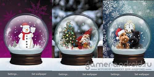 Обои (Зима) снежный шар
